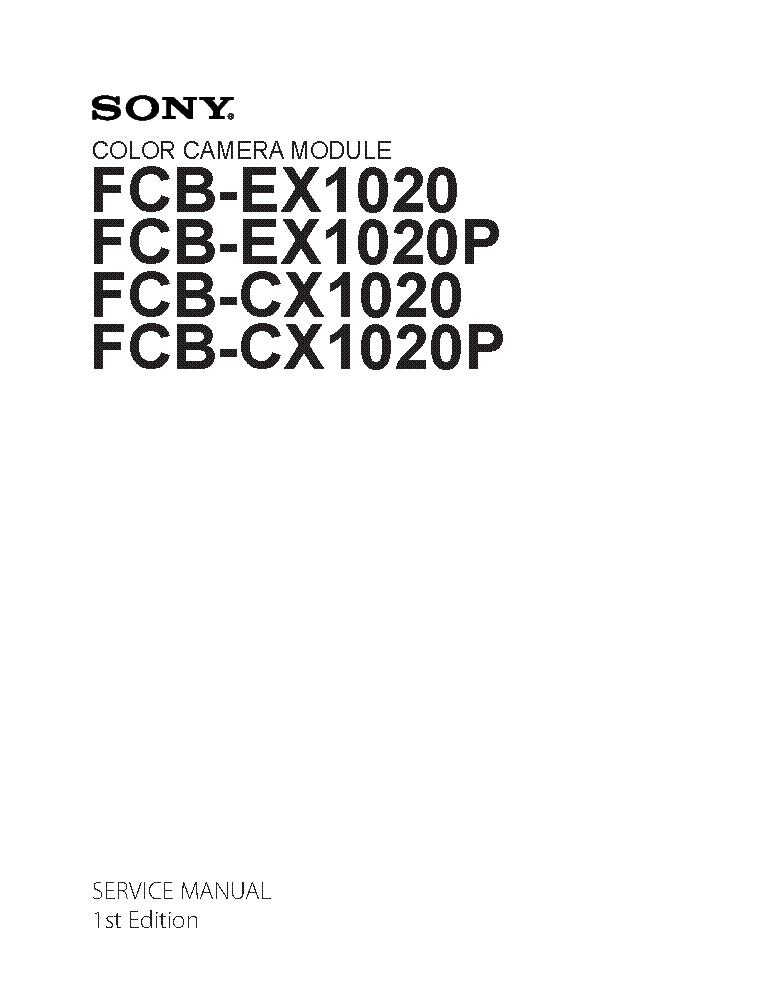 SONY FCB-EX1020 FCB-CX1020P SM Service Manual download