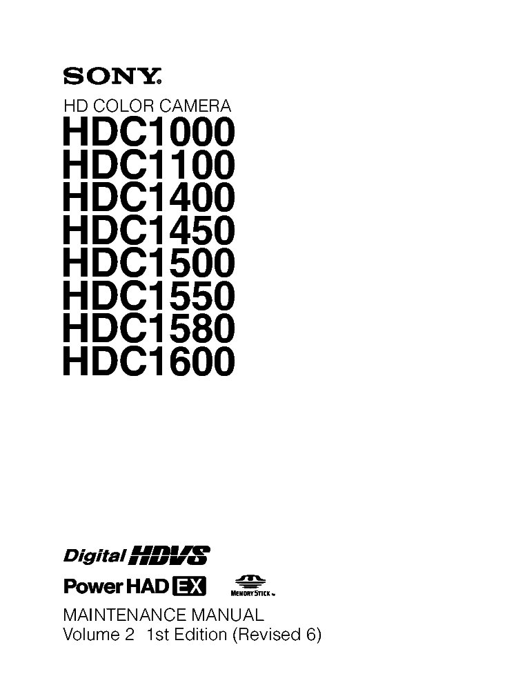 SONY HDC1000 HDC-1100 HDC-1400 HDC-1450 HDC-1500 HDC-1550