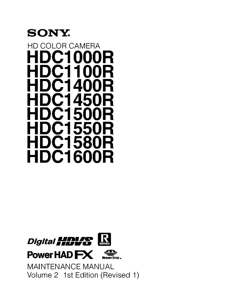 SONY HDC1000R HDC-1100R HDC-1400R HDC-1450R HDC-1500R HDC