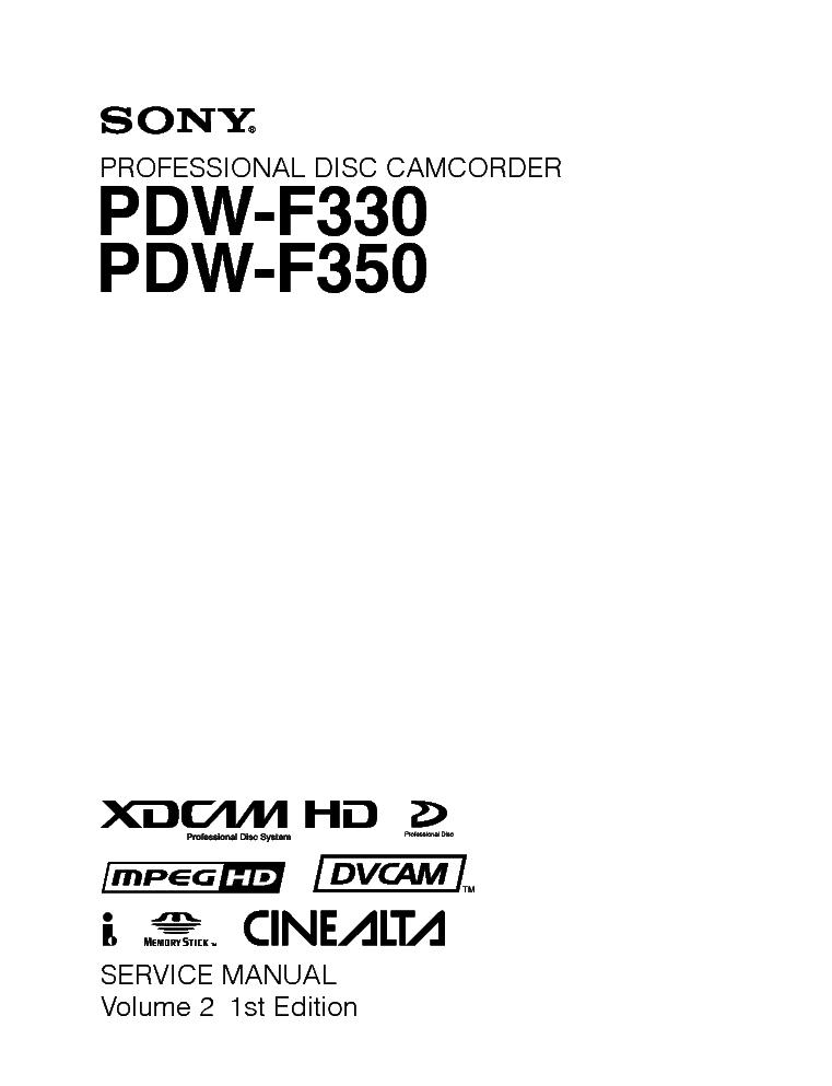 SONY PDW F330-350 Service Manual download, schematics