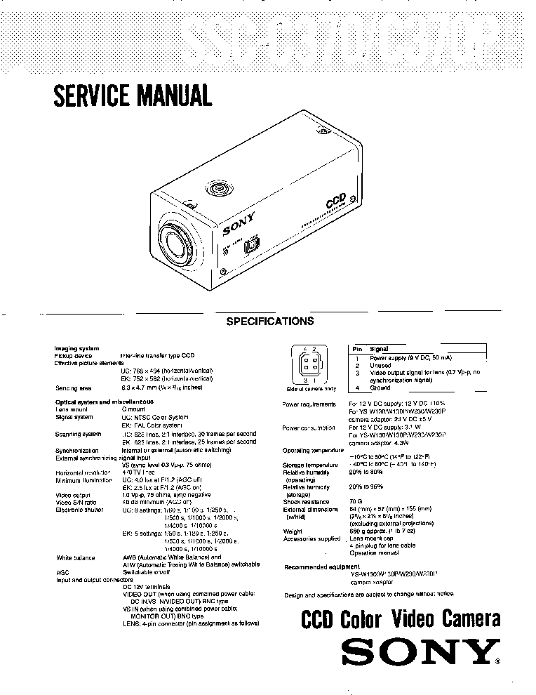 SONY SSC-C370 Service Manual download, schematics, eeprom