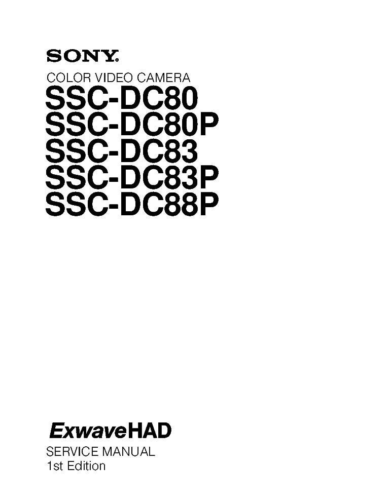 SONY SSC-DC80 SSC-DC80P SSC-DC83 SSC-DC83P SSC-DC88P 1ST
