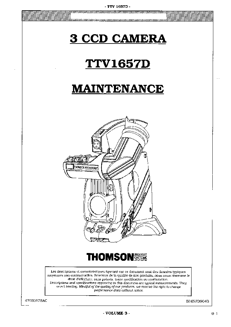 THOMSON TTV1657D B1657D904B VOLUME-3 Service Manual