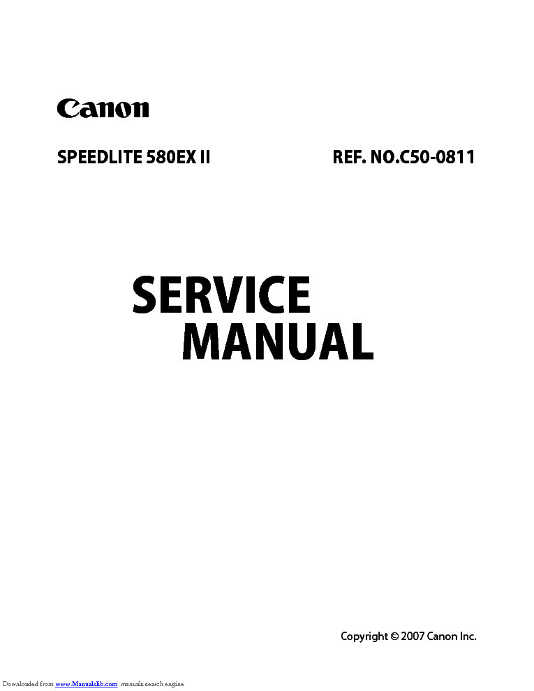 CANON SPEEDLITE 580EX II C50-0811 CY8-1201-307E SM Service