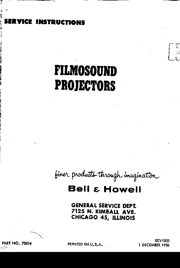 BELL HOWELL DESIGN 384 385 398 399 Service Manual download