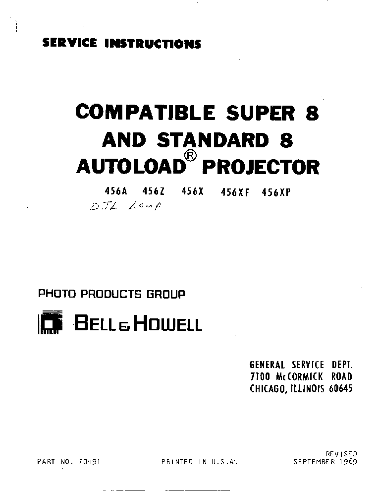 BELL HOWELL DESIGN 1692 1693 1694 1695 1698 Service Manual