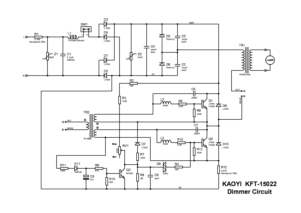 KAOYI DIMMER Service Manual download, schematics, eeprom