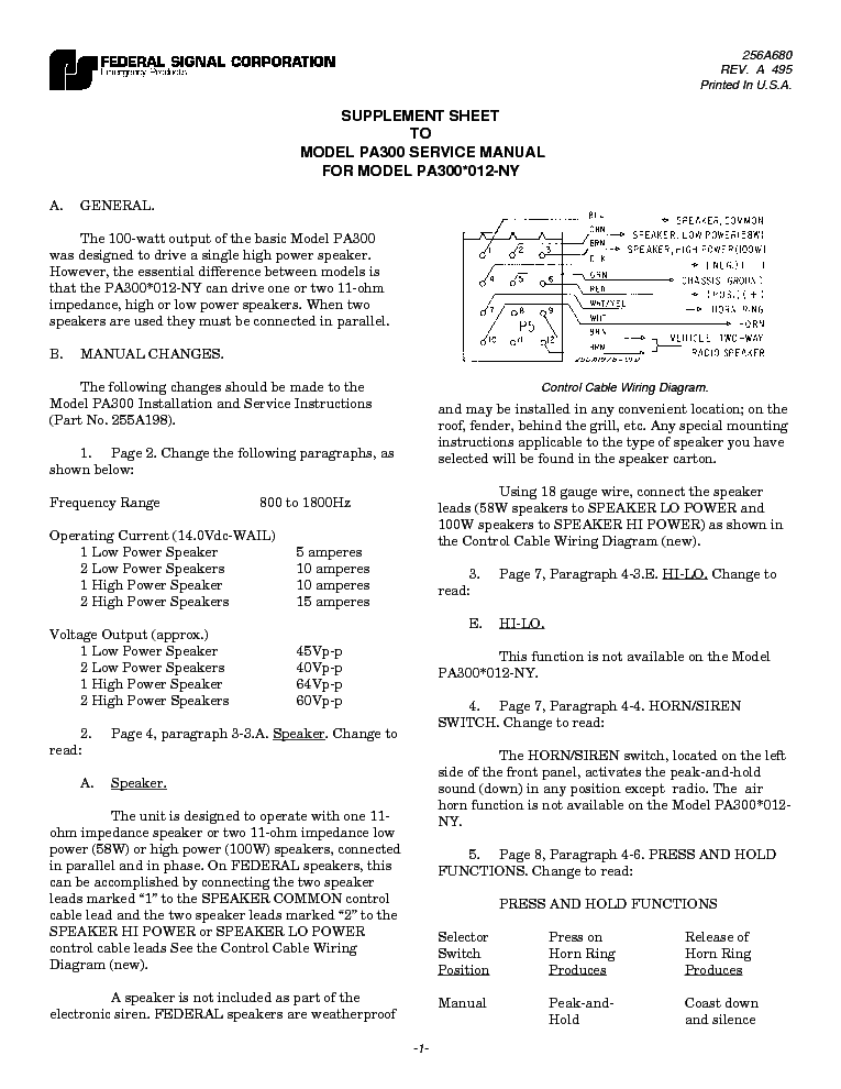 FEDERAL SIGNAL PA300 SCH Service Manual Download Schematics