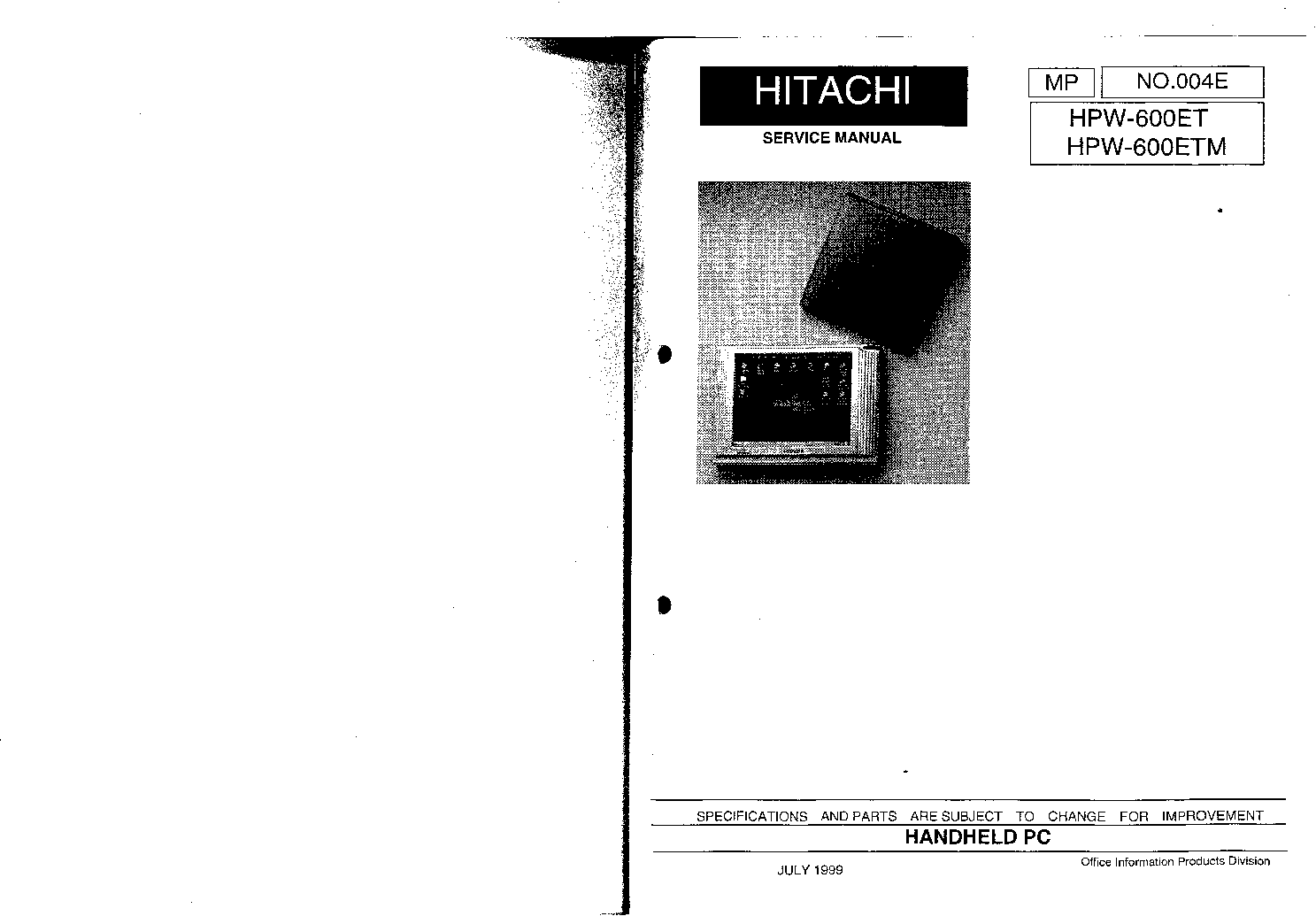 HITACHI HPW600ET Service Manual download, schematics