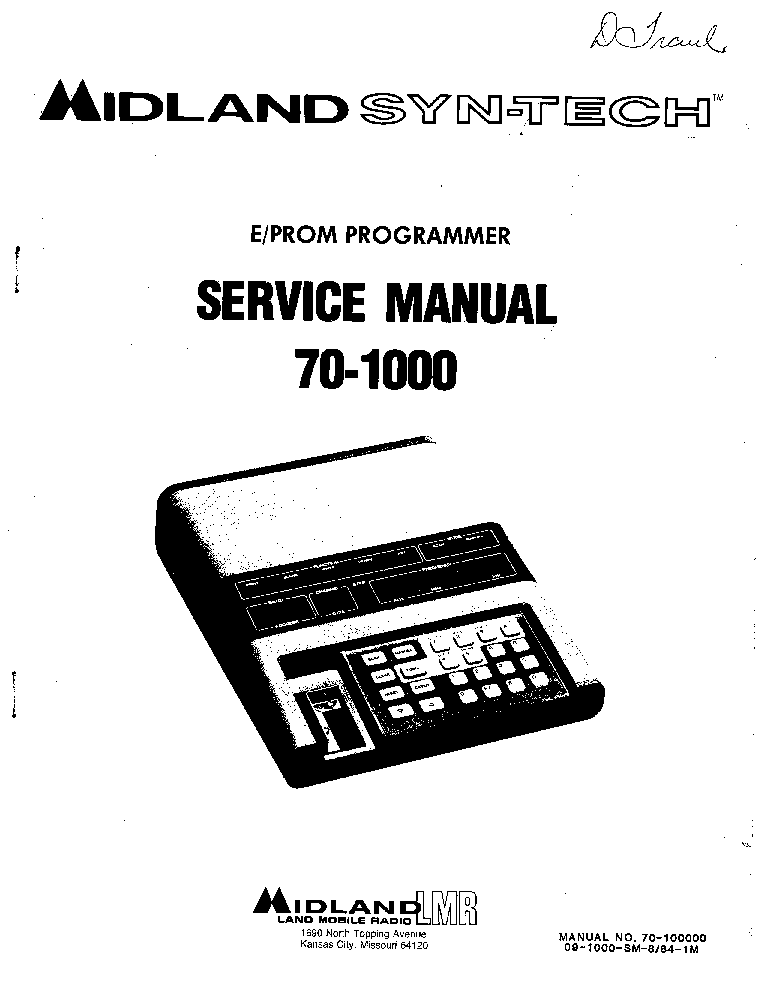 MIDLAND 70-1000 EPROM PROGRAMMER Service Manual download