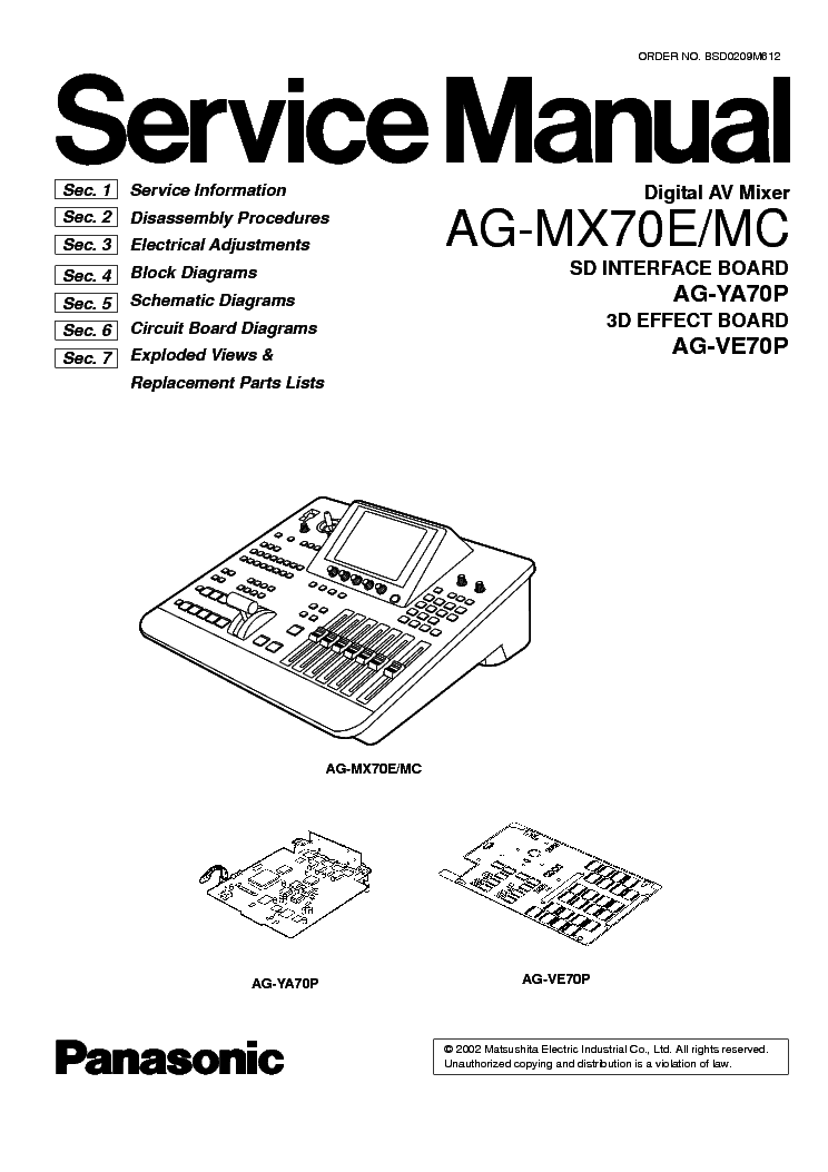 PANASONIC AG-MX70E MC DIGITAL AV MIXER Service Manual