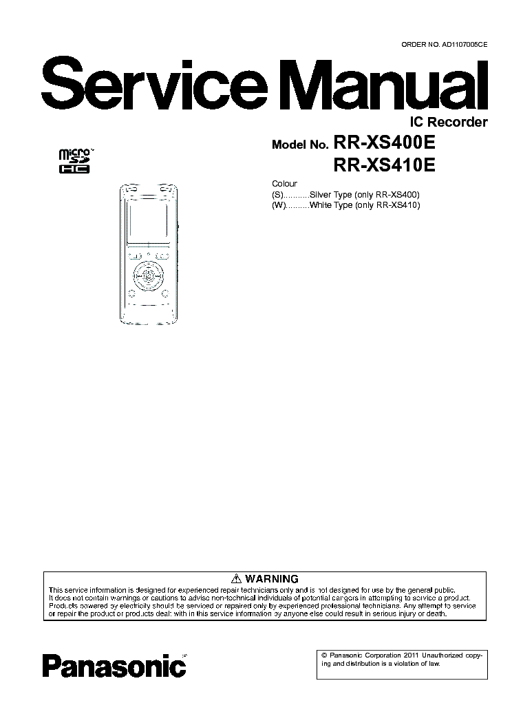 PANASONIC RR-XS400 XS410E Service Manual download