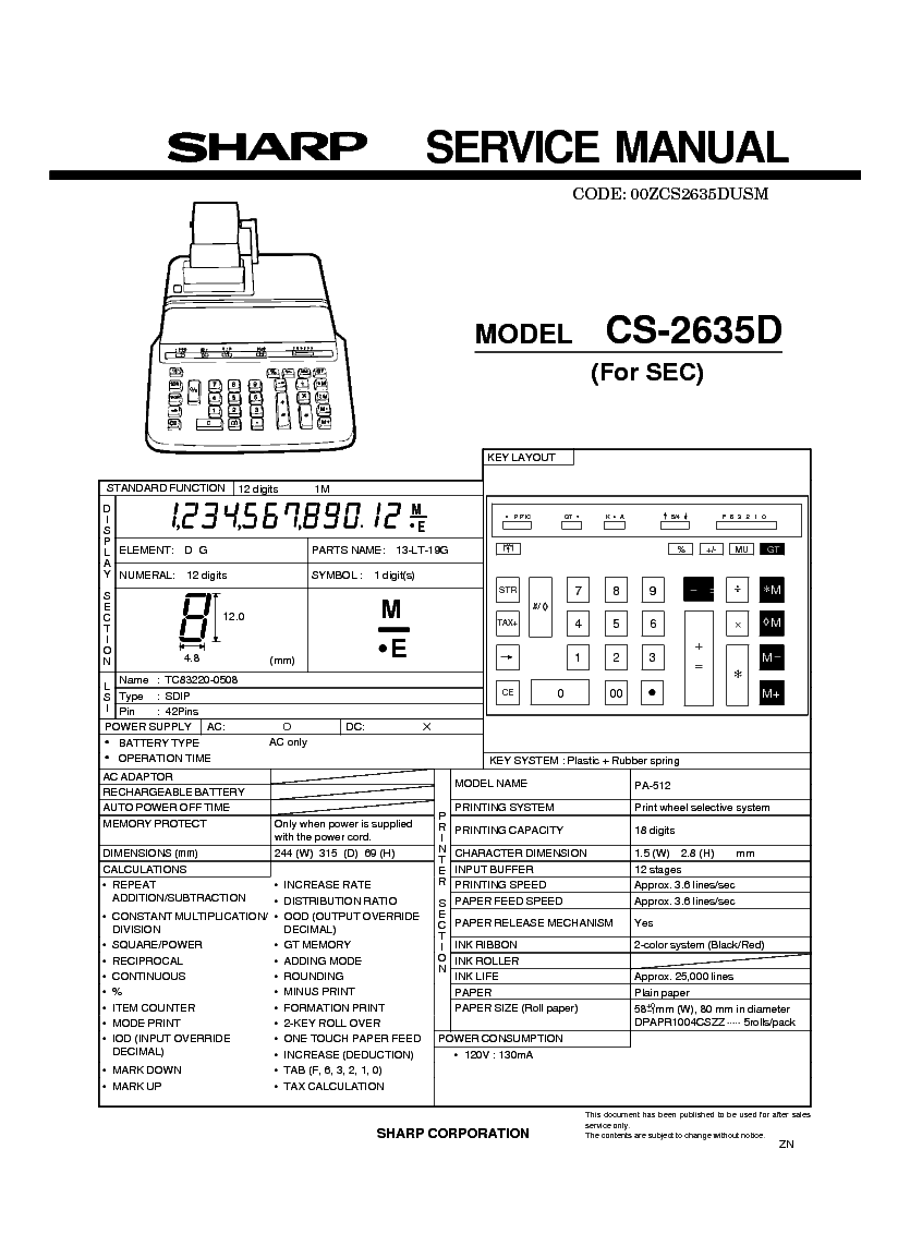 SHARP CB800 F0485AF-4 SCH Service Manual free download