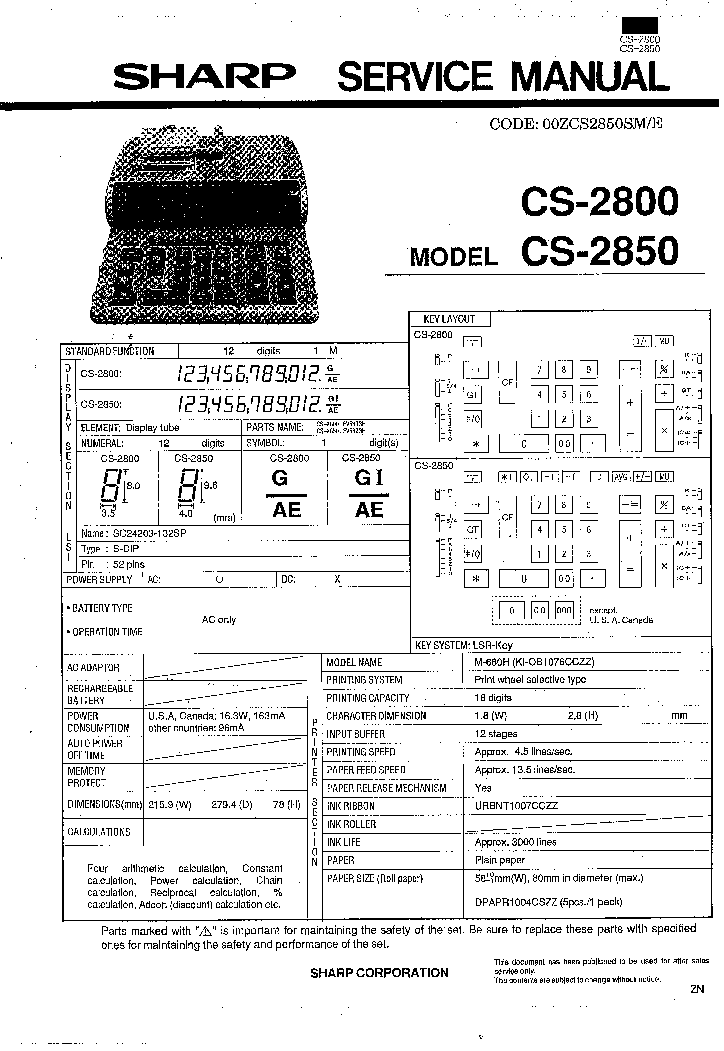 SHARP CS-2800 CS-2850 Service Manual download, schematics