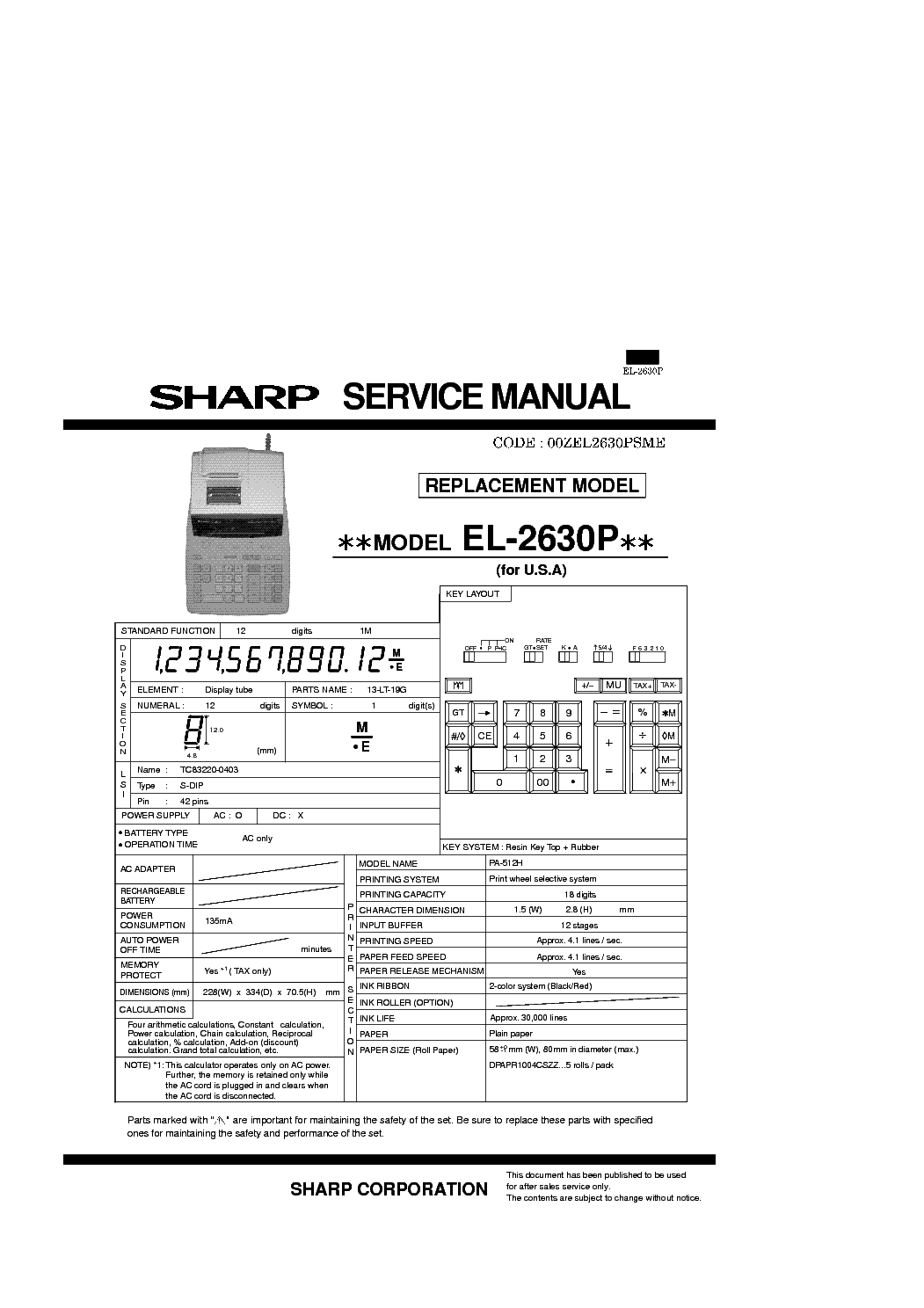 SHARP EL-2630P Service Manual download, schematics, eeprom