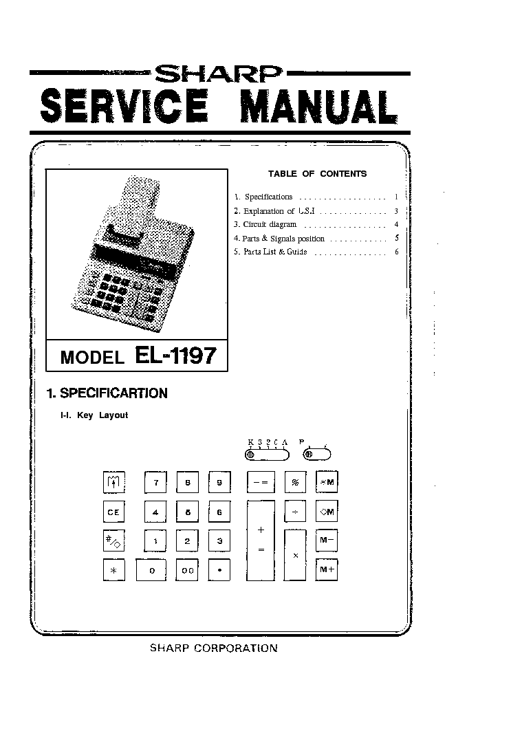 SHARP EL1197 CALCULATOR SM Service Manual download