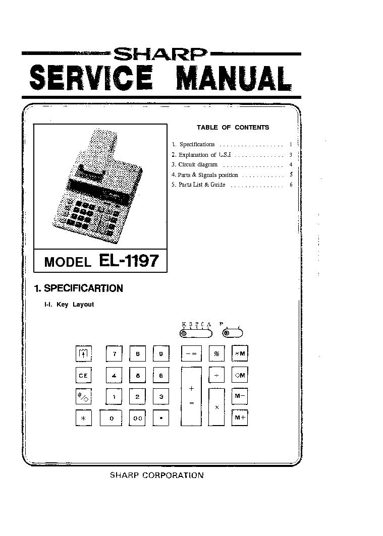 SHARP EL1197 CALCULATOR SM Service Manual download