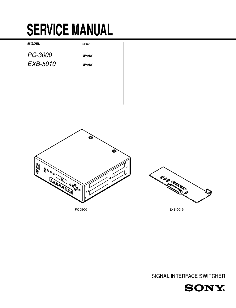 SONY PC-3000 EXB-5010 Service Manual download, schematics
