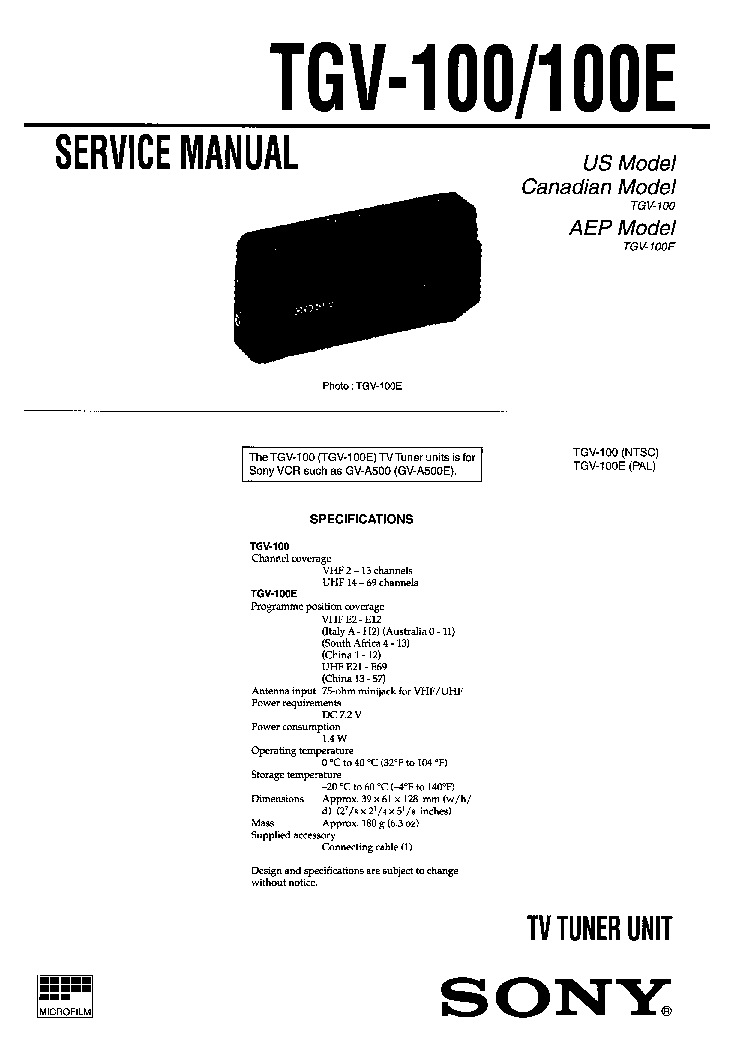 SONY TGV-100 TGV-100E TV TUNER UNIT Service Manual