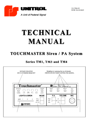 UNITROL TOUCHMASTER SIREN PA SYSTEM TM1 TM2 TM3 TM4