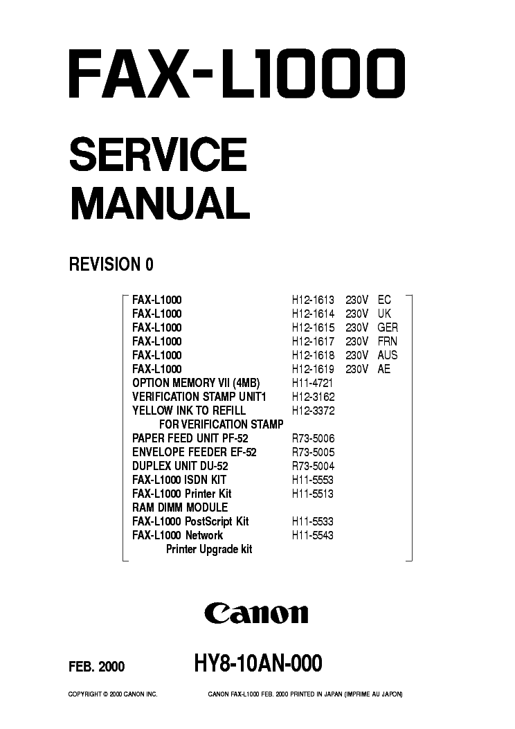 CANON SUPER G3 FAX BOARD-F1 SM Service Manual download
