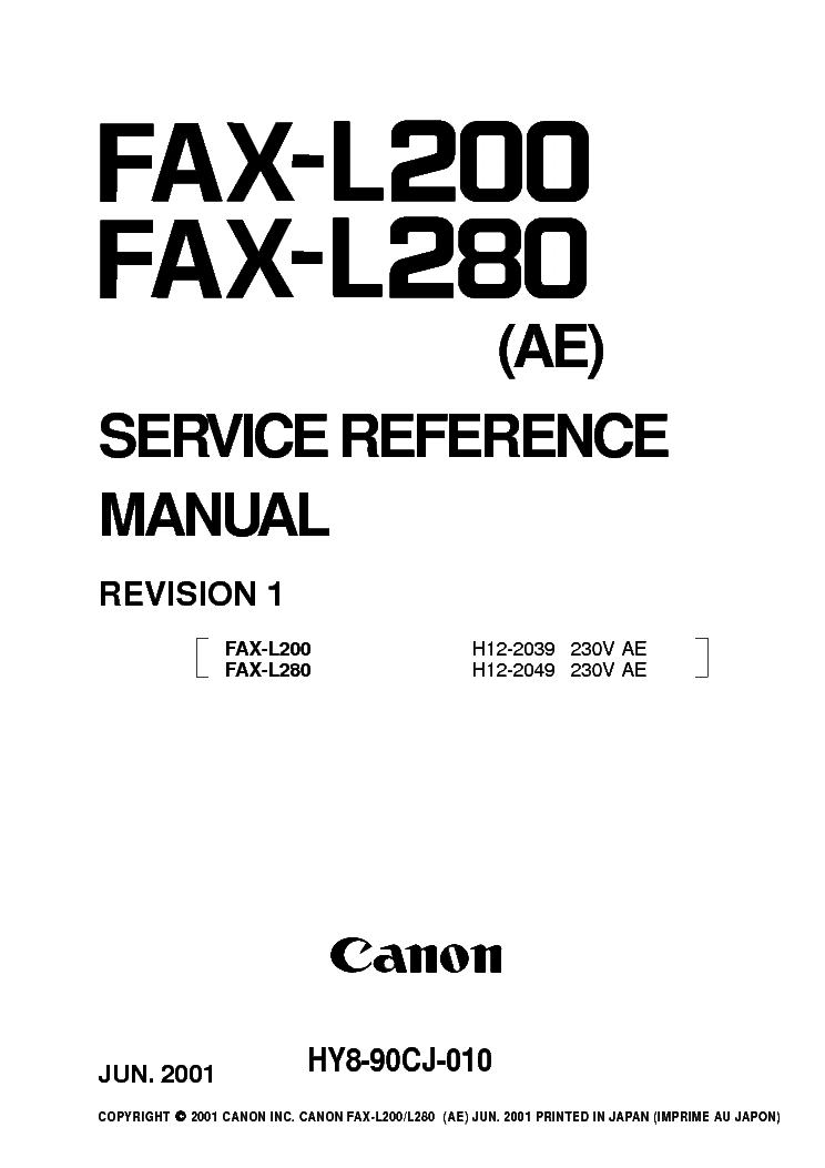 CANON FAX-L200 FAX-L280 REV1 SM Service Manual download