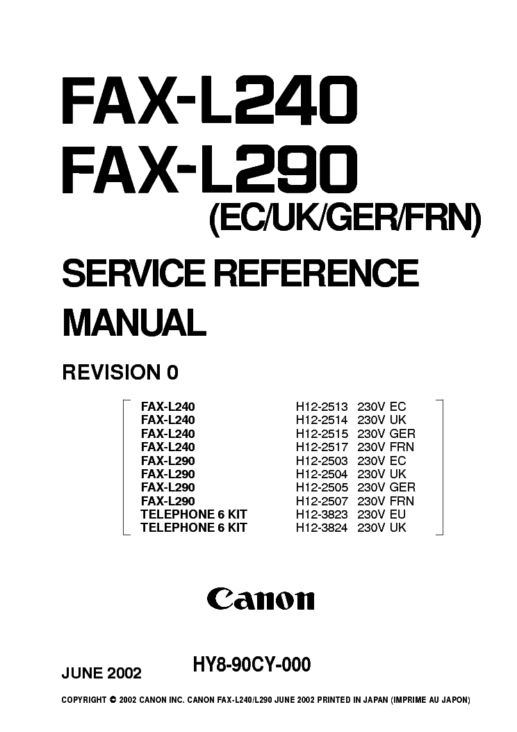 CANON FAX-L240 FAX-L290 SM Service Manual download