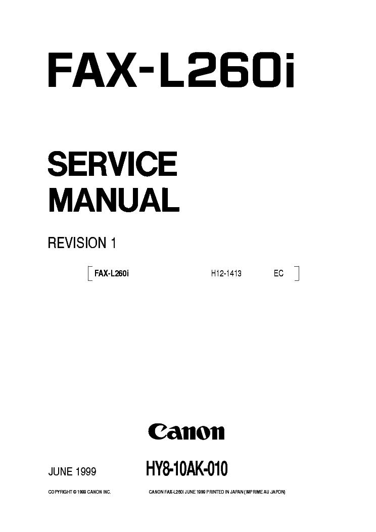 CANON FAX-L260I Service Manual download, schematics