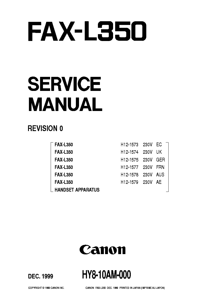 CANON FAX-L350 SM 2 Service Manual download, schematics