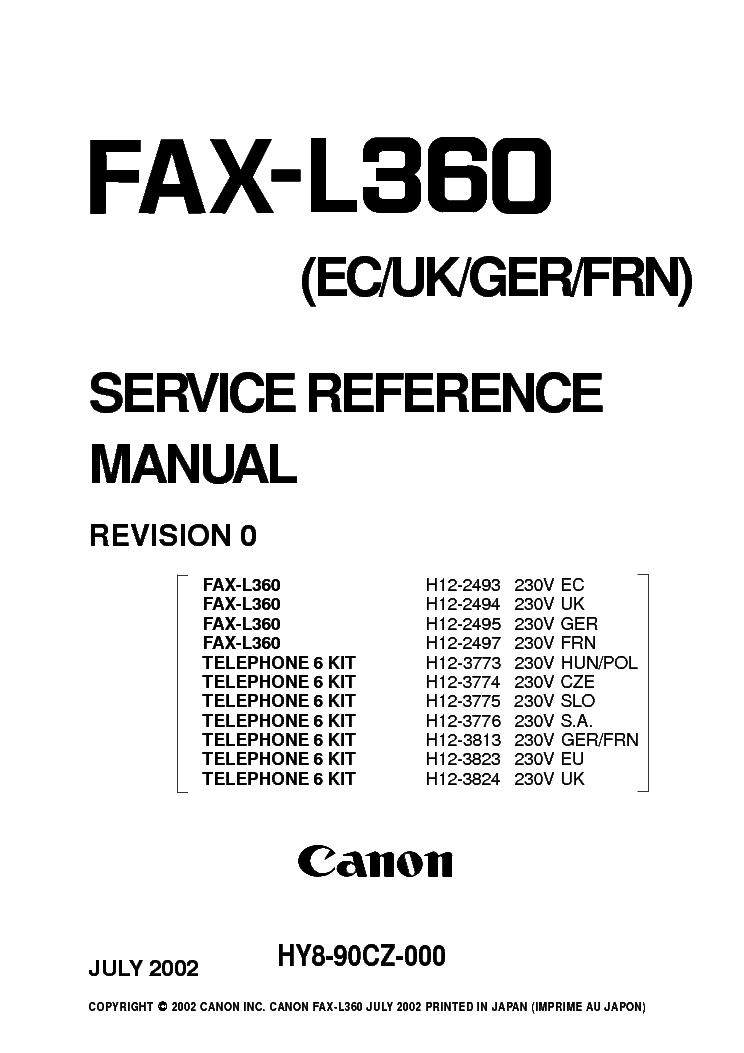 CANON FAX-L360 XP DRIVER DOWNLOAD