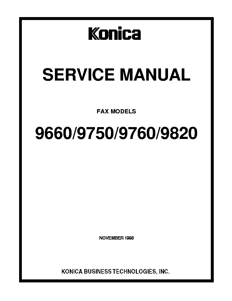 KONICA FAX MODEL 9660SM Service Manual download