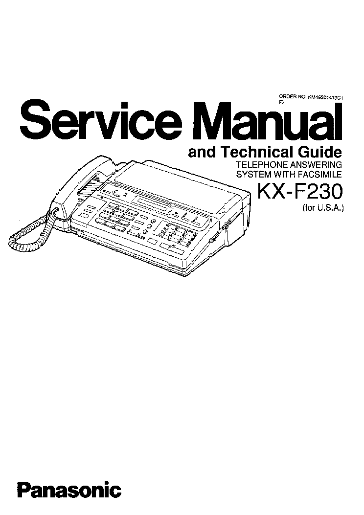 PANASONIC UF-E1 E1CN TECHNICAL MANUAL Service Manual