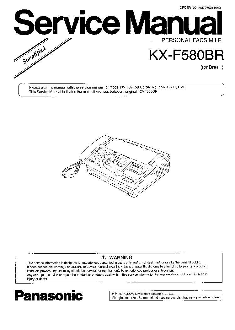 PANASONIC KX-F580BR SM Service Manual download, schematics