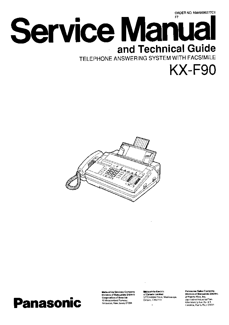 PANASONIC KX-F90 SM. Service Manual download, schematics