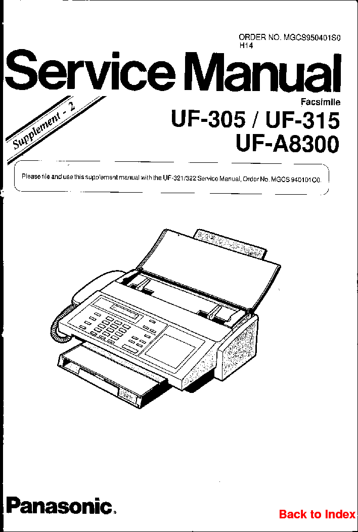PANASONIC UF-305 315 A8300 Service Manual download
