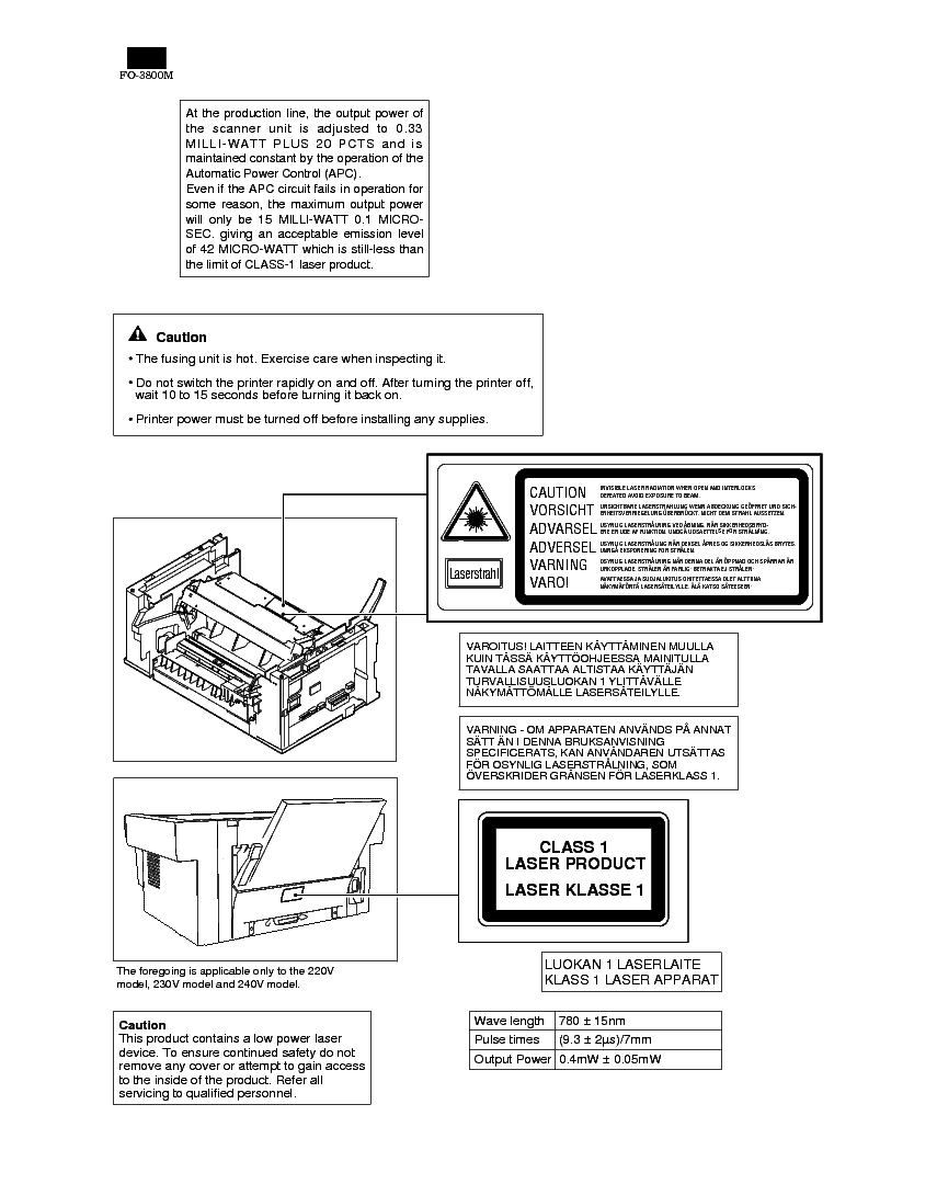 SHARP FO-3800M Service Manual download, schematics, eeprom