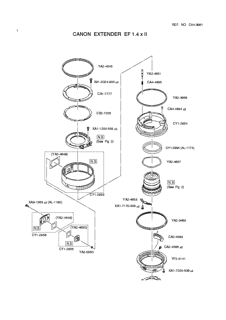 CANON EF 1.4X II EXTENDER PARTS Service Manual download