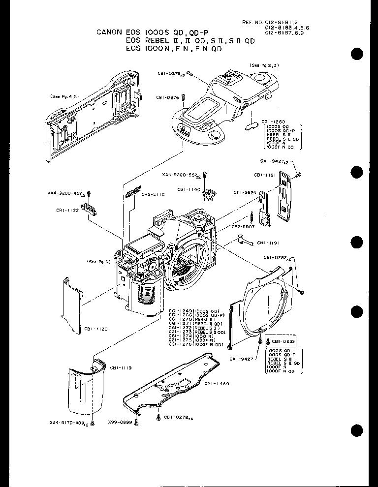 CANON EOS-1000N FN FN QD S QD S QD-P REBEL II REBEL II QD
