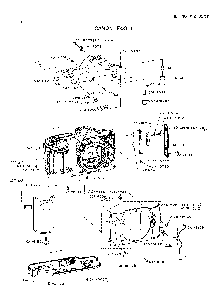 CANON EOS-1 PARTS Service Manual download, schematics