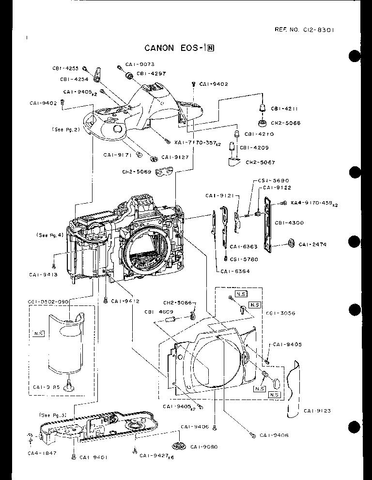 CANON EOS-1N PARTS Service Manual download, schematics