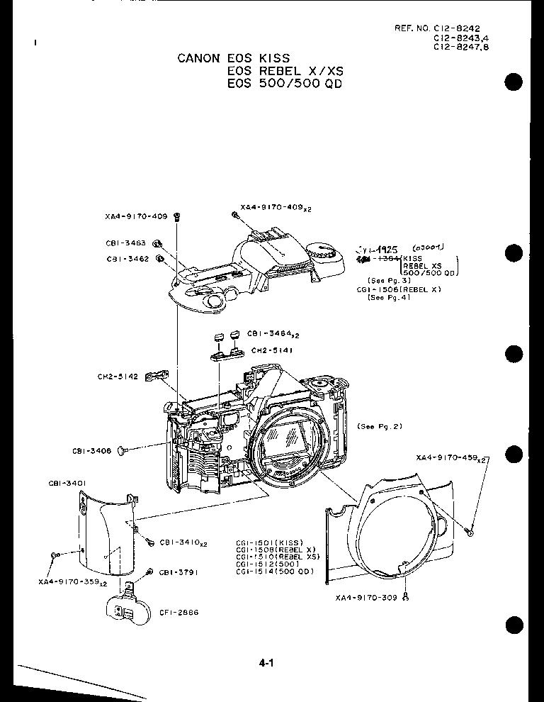 CANON EOS-500 500 QD REBEL X REBEL XS PARTS Service Manual