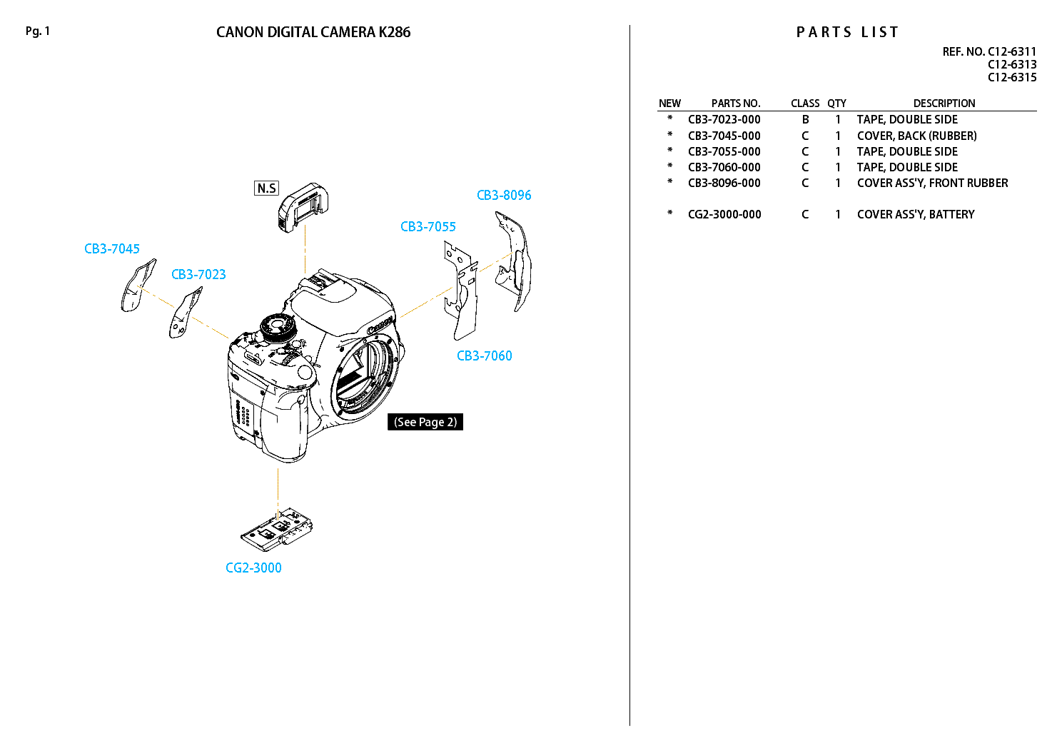 CANON EOS-600D PARTS Service Manual download, schematics