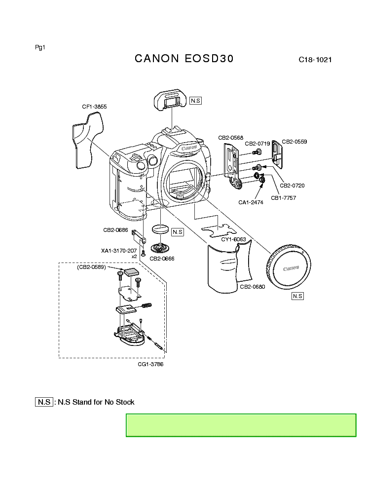 CANON EOS D30 PARTS Service Manual download, schematics