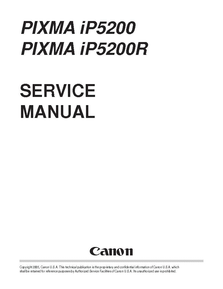 CANON PIXMA IP5200 Service Manual download, schematics