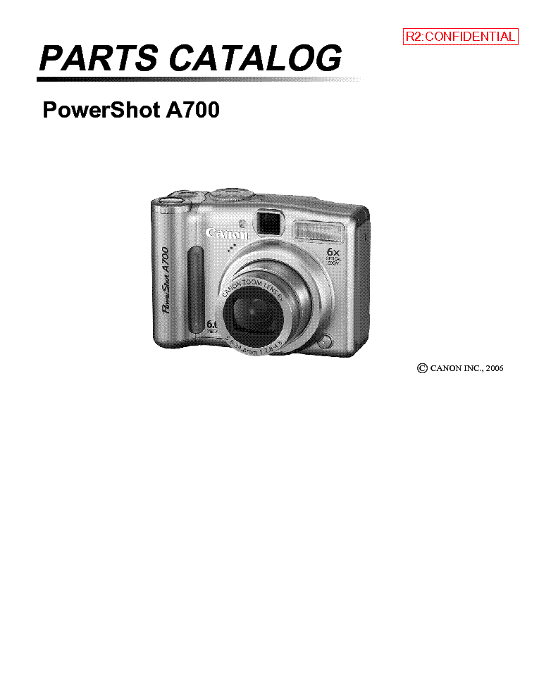 CANON POWERSHOT A700 PARTS Service Manual download
