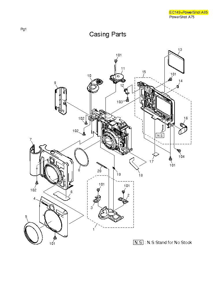 CANON POWERSHOT A75 A85 PARTS Service Manual download
