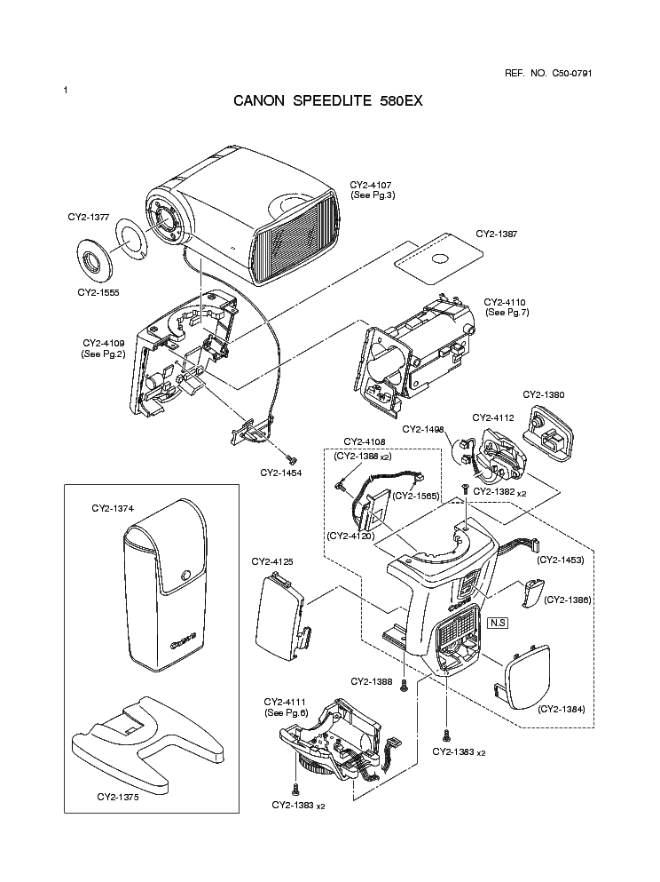 CANON SPEEDLITE 580EX PARTS Service Manual download