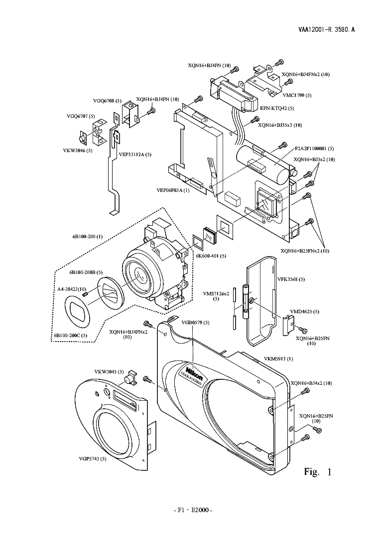 NIKON COOLPIX 2000 PARTS Service Manual download