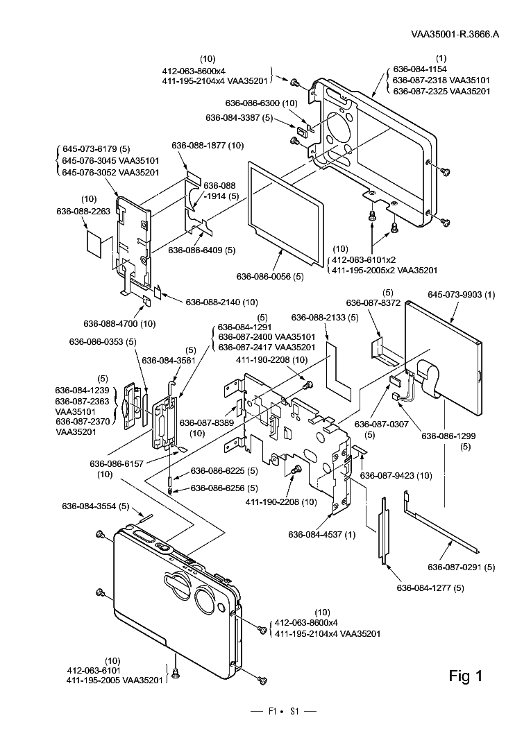 NIKON COOLPIX S1 PARTS Service Manual download, schematics