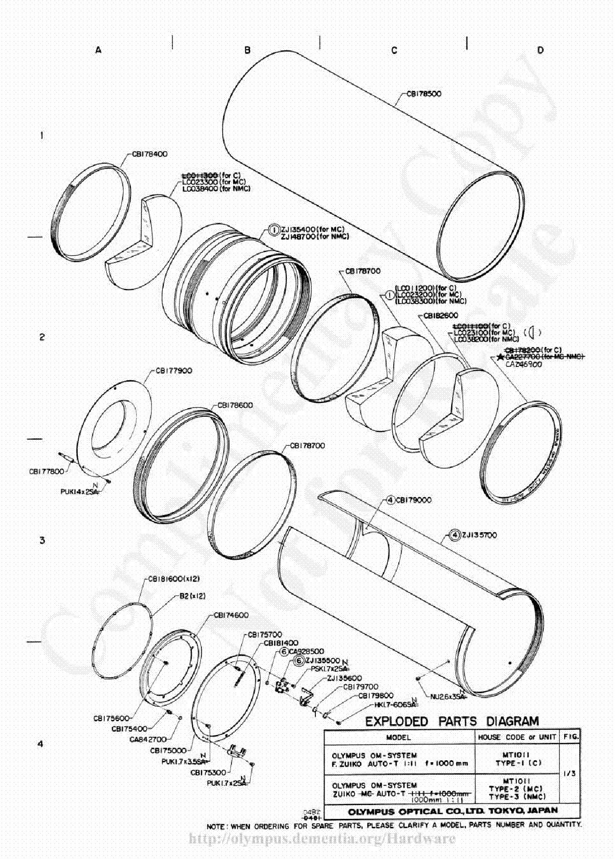 OLYMPUS 1000MM F11 EXPLODED PARTS DIAGRAM Service Manual